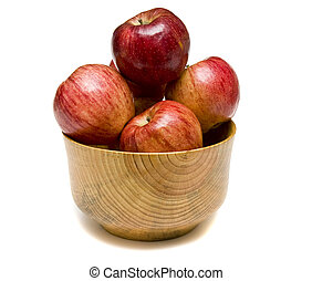 Red Apples in Wood Bowl - Fresh Red Apples in a wood bowl on...