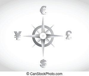 currency compass guide illustration design