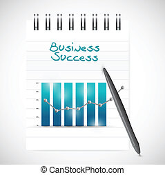 business graph success and notepad