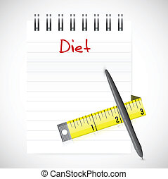 notepad diet. illustration design over a white background