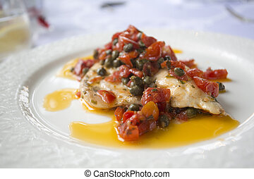 roasted sea bass with tomatos and capers - haute cuisine...