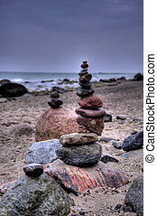 Balanced Pepples at the Baltic Sea of Germany, HDR