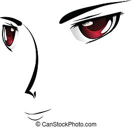 Cartoon face with red eyes - Simple cartoon face with red...