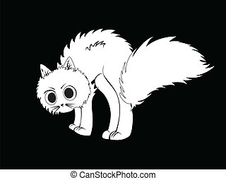 Cartoon white kitten