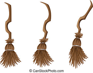 Stylish broom - Old cartoon with broom on white background.