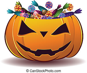Pumpkin with candy - Halloween pumpkin full of candy on...