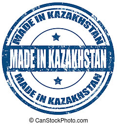 Made in Kazakhstan - Grunge rubber stamp with text Made in...