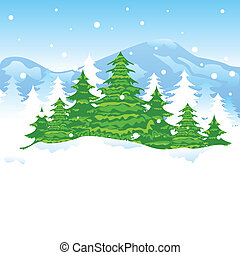 Christmas Winter Landscape - easy to edit vector...