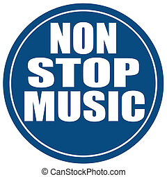 Non Stop Music-label - Label with text Non Stop Music,vector...