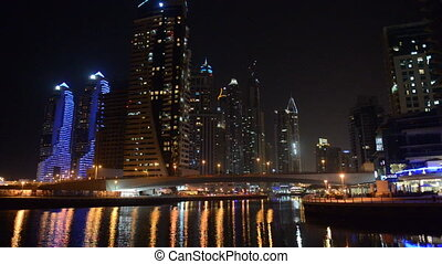 night illumination of Dubai Marina - The night illumination...