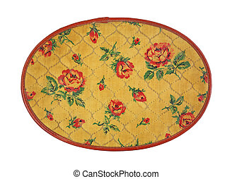 Vintage Sewing Box Cover - Looking down at the cover of a...
