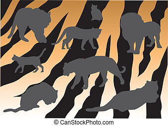 tigers - vector tigers silhouettes on tiger skin background