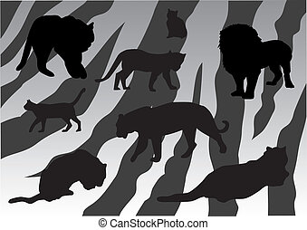 Cats - vector wild cats on tiger skin background