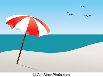 Beach - vector beach with umbrella