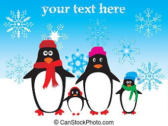 Penguins - vector funny penguin family