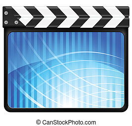 abstract clapper board - Movie clapper board on a white...