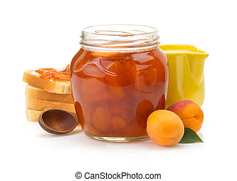 apricot on white background - apricot jam isolated on white...