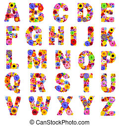 Full Floral Alphabet Isolated on White - Letters A to Z -...