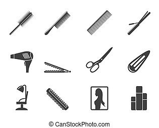 hairdressing, coiffure icons - Silhouette hairdressing,...