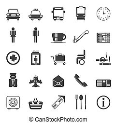 Silhouette Airport, travel icons
