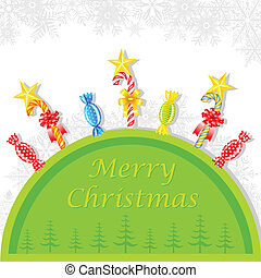 Colorful Cany in Christmas Background - easy to edit vector...