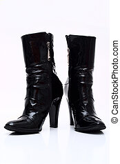 Leather boots - Womens patent leather boots with a heel