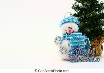 X-mas card - Cristmas card with snowman and cristmas-tree