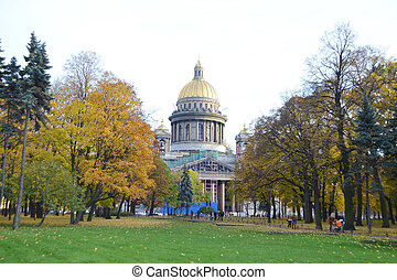 Park about St Isaacs cathedral in autumn day, St.Petersburg,...