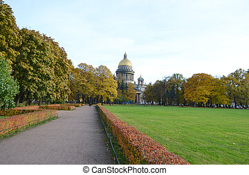 Park about St Isaacs cathedral in autumn day, StPetersburg,...