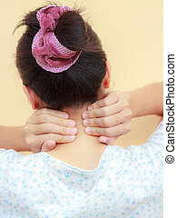 Woman holds a hand on neck  pain, isolated