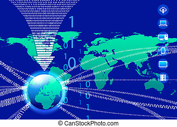 Data Background - Binary Code Techn - Global Communication...