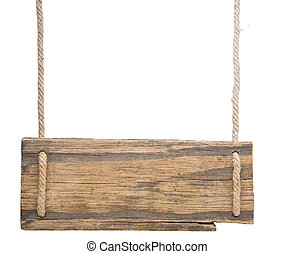 blank wooden sign hanging on a rope. isolated on white