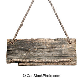 blank wooden sign hanging on a rope isolated on white