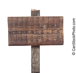 empty wooden sign isolated on white background