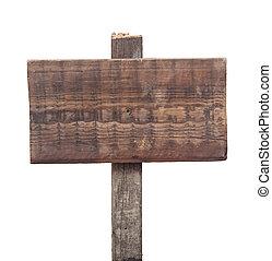 木製である, 隔離された, 印, 背景, 白, 空
