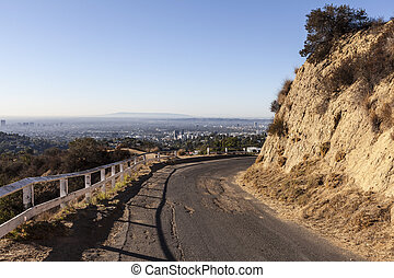 Old Mulholland Highway overlooking Hollywood, California -...