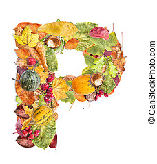 Letter P made of autumn colored leaves isolated on white...