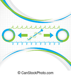 Abstract blue green grid medical background
