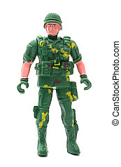 Toy soldiers - The soldier in a military uniform on a white...