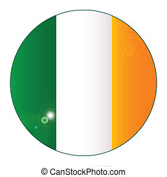 Irish Flag Button - The Flag of The Republic of Ireland as a...