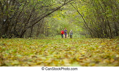 Autumn Weekend Walk - Preteen friends taking a walk on an...