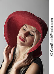 beautiful woman with a hat