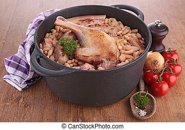 casserole, branca, feijão, Carnes