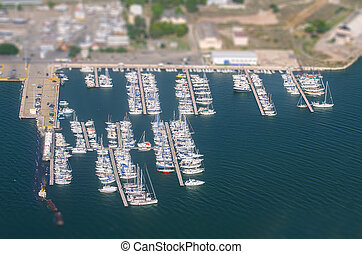 Aerial view of yachts. Tilt-shift.