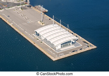 Aerial view of yachts club.