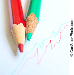 pencil drawing - red and green pencil with graph on white...