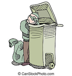 Trash Robber - An image of a robber stealing from a trash...