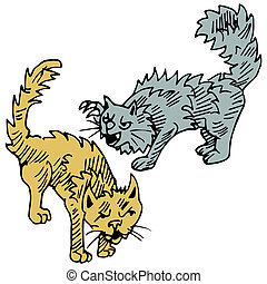 Cats Fighting - An image of cats fighting.