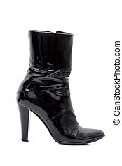 Leather boots - Womens patent leather boot with a heel