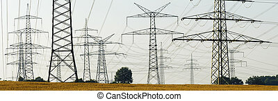 panorama of electric power poles - wide panorama view of...
